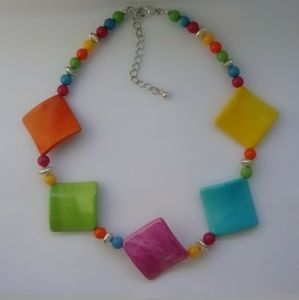 Cheerful Colors Square Beaded Statement Necklace